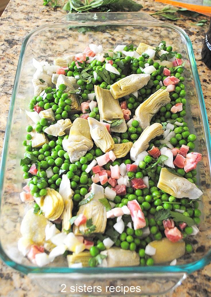 Baked Peas and Artichoke Hearts