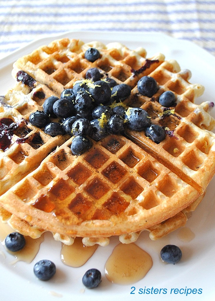 Lemon Blueberry Waffles by 2sistersrecipes.com