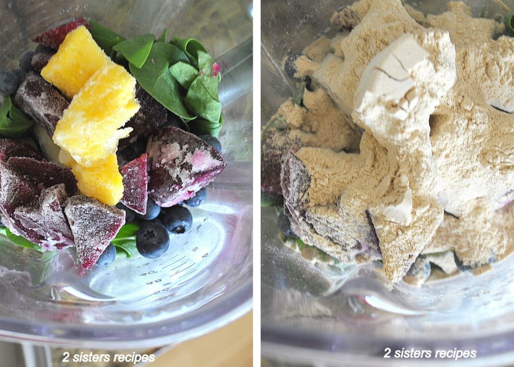 Smoothie ingredients in a blender. 2sistersrecipes.com