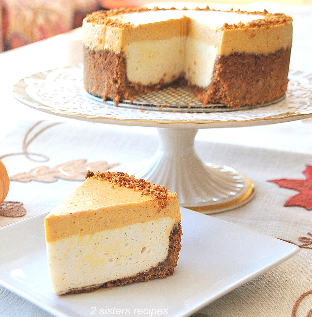 Best No-Bake Pumpkin Cheesecake by 2sistersrecipes.com