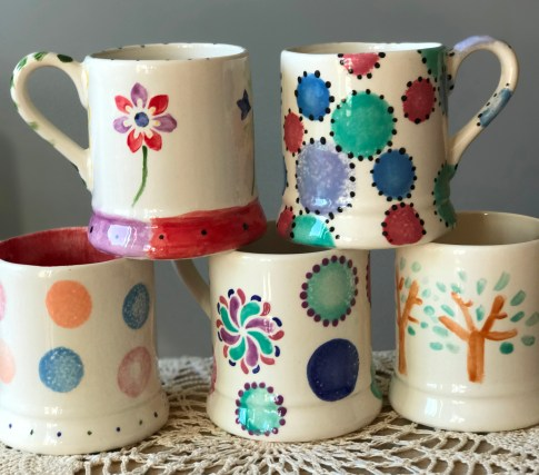 Delightful mugs made at a 12 year old's birthday party