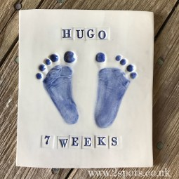 Imprint Tile with Stamped Letters Dark Blue