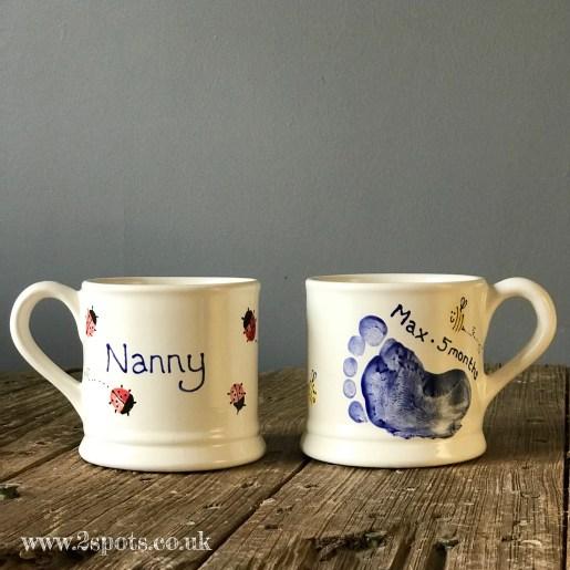 Nanny Mug with Toeprint Ladybirds