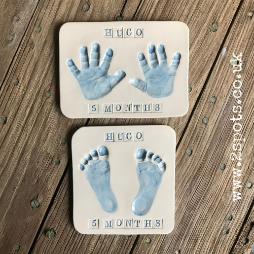 Clay Imprints Handprints and Footprints in blue