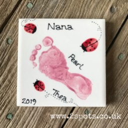 Pink Footprint Coaster with toeprint ladybirds
