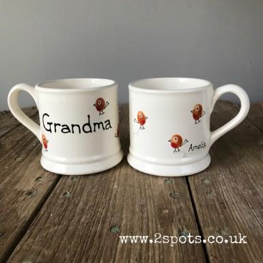 Robin toeprint mug for Grandma