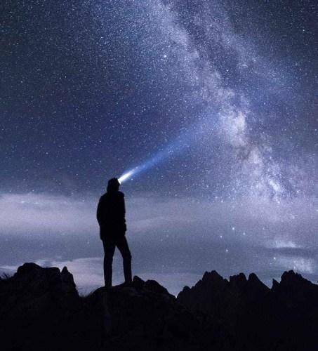night sky milky way with a figure