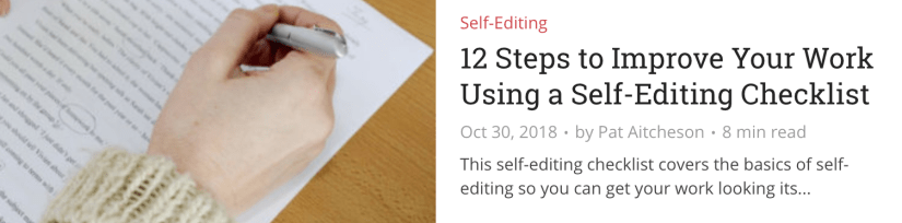Re:fiction article on self-editing