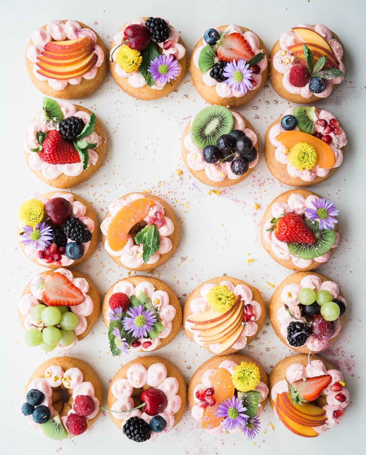 Colourful fruit tarts
