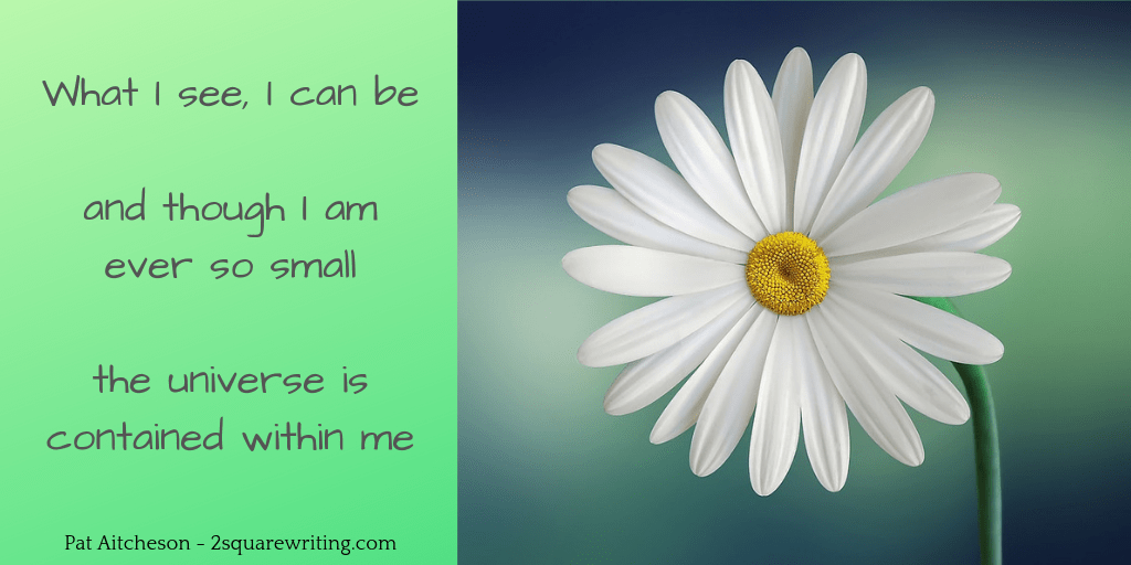 mini poem from 2squarewriting with a picture of a daisy