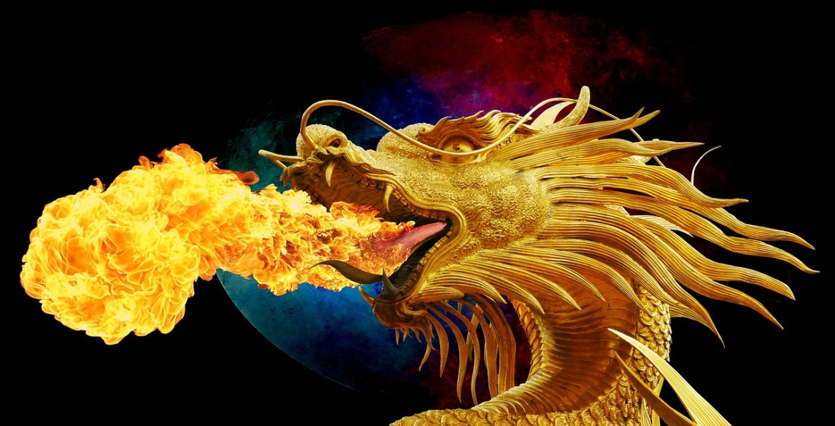 Gold dragon breathing fire