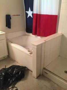 Before -- Wall separating tub made overall bathroom feel smaller