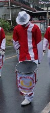 Many wore hats like this one, with Panama emblazoned on them. This young man has only one arm and still participated as a drummer.