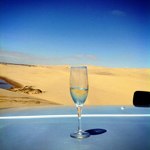 champagne in the sand