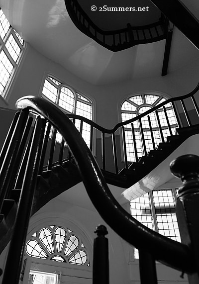 vertical turret stairwell bw