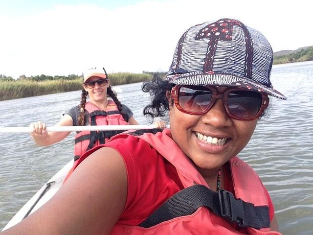 Heather and Meruschka rafting