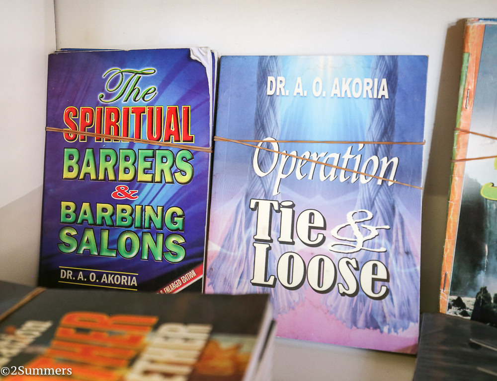 Nigerian religious books for sale at a shop in downtown Joburg