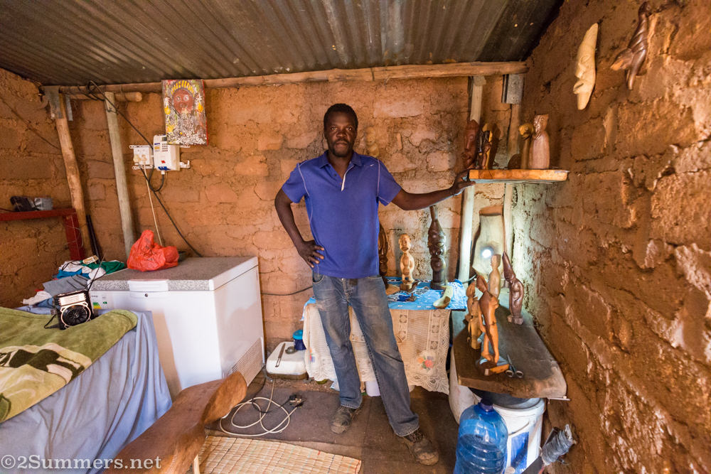 Patrick Manyike in his house