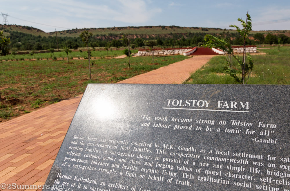 Historical plaque at Tolstoy Farm