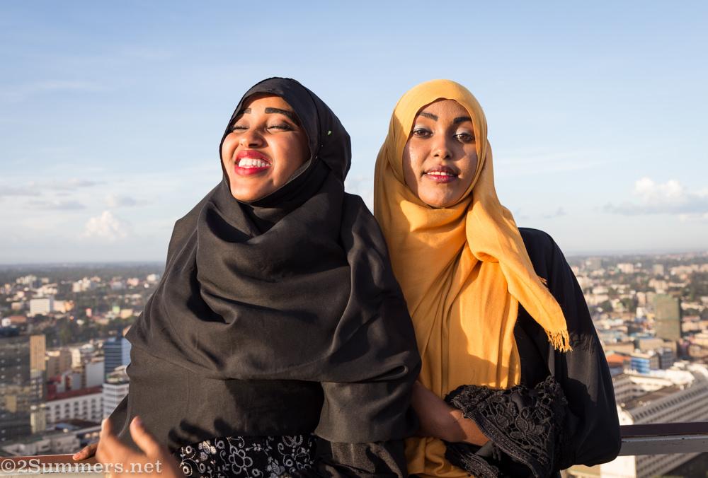 Girls at the top of Kenyatta International Convention Centre in Nairobi