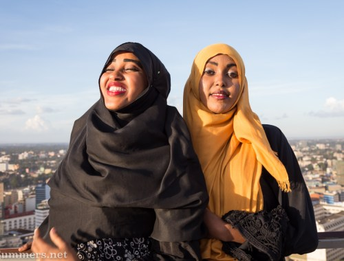 Girls at the top of Kenyatta International Convention Centre in Nairobi