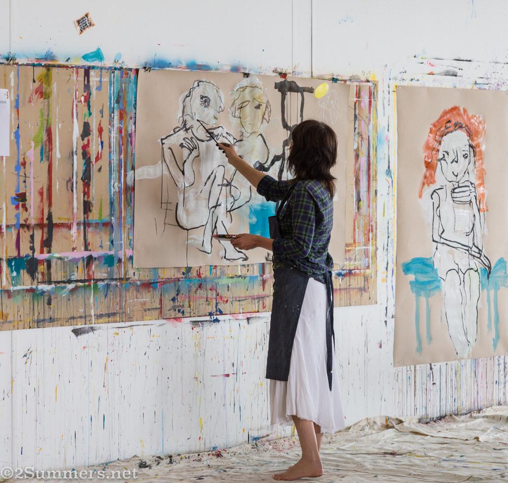 Juanita Frier painting at Ellis House