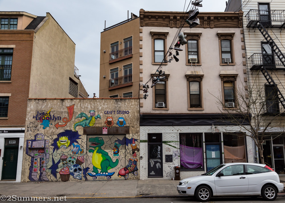 Street art and hanging shoes