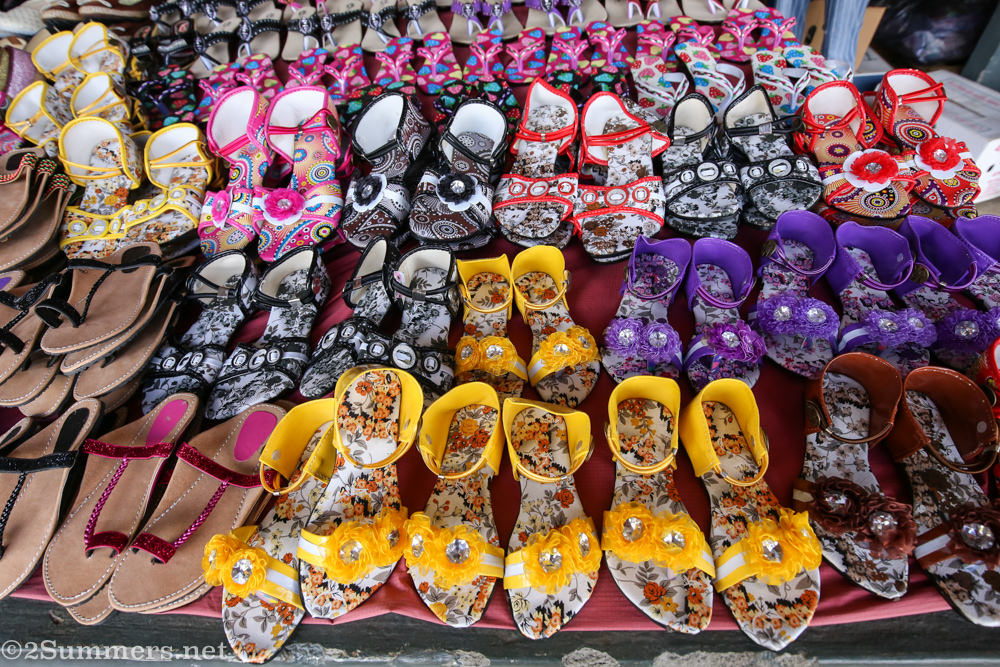 Shoes at the Centre de Flacq Market in Mauritius