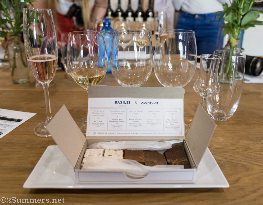 Wine and fudge tasting at Avontuur