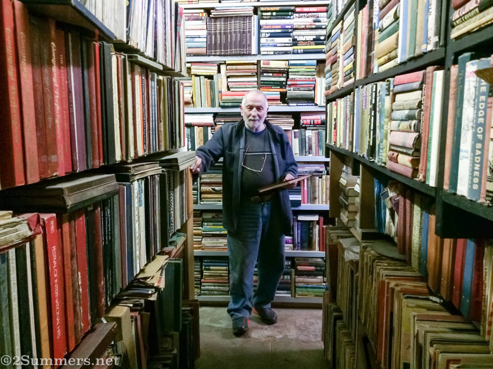 Swazi Werner with his books at the Zebra Inn