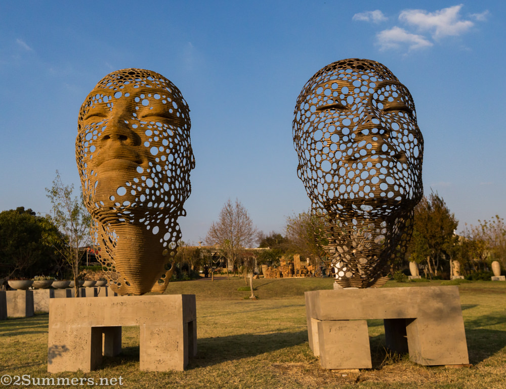 Face sculptures at Anton Smit Sculpture Park
