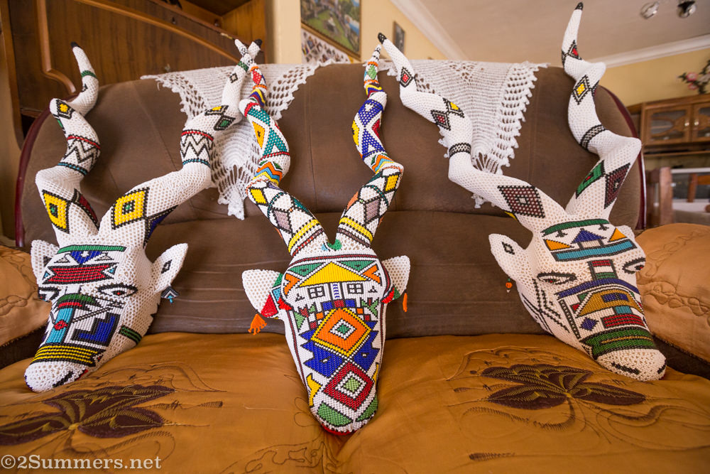 Completed Ndebele kudu heads