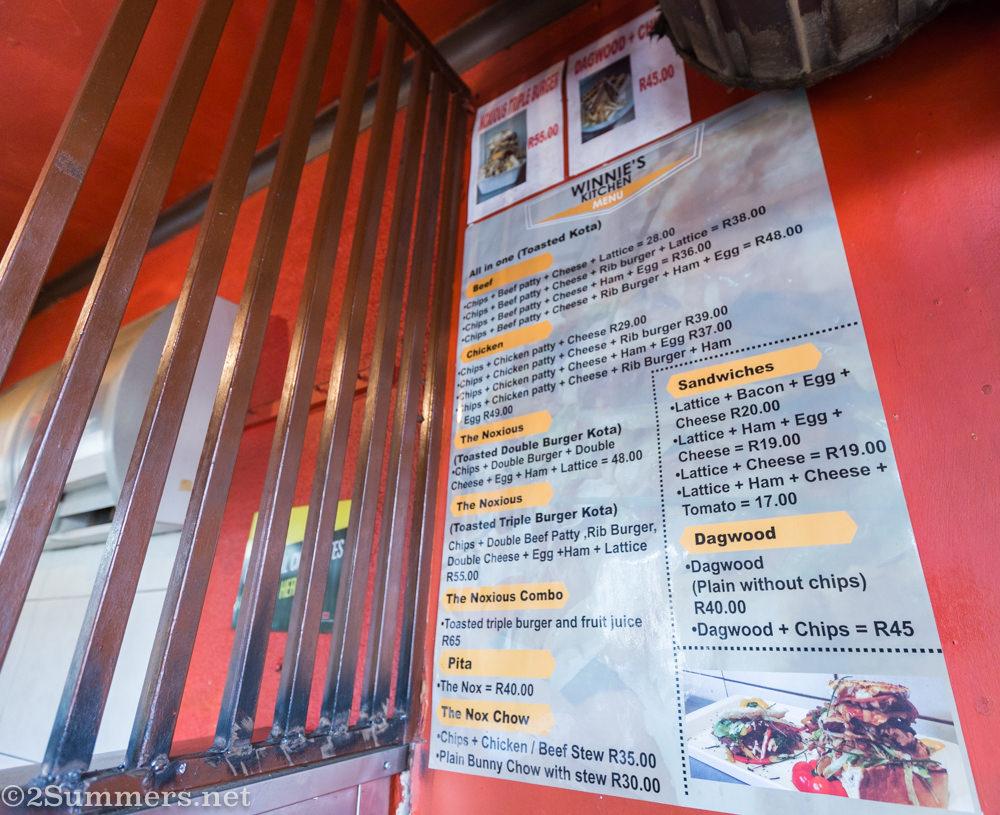 Kota menu at Winnie's Tuckshop