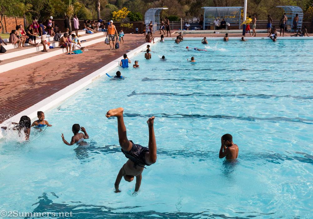 Diving into Zoo Lake pool