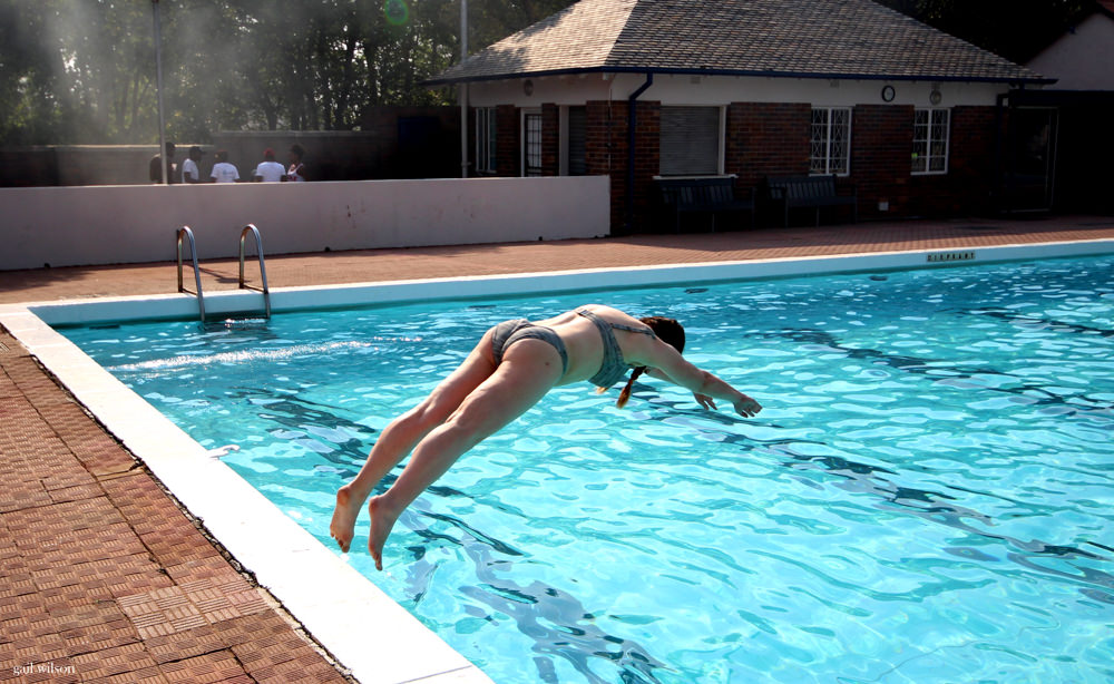 Heather diving into the pool