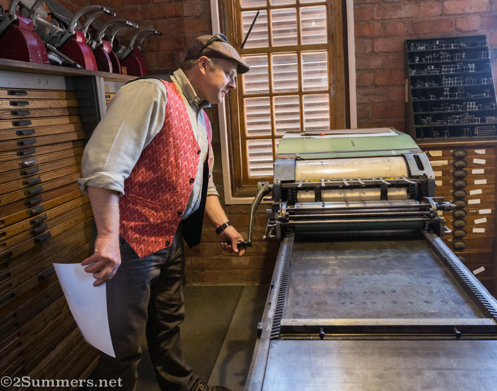 Martin demonstrates one of the printers