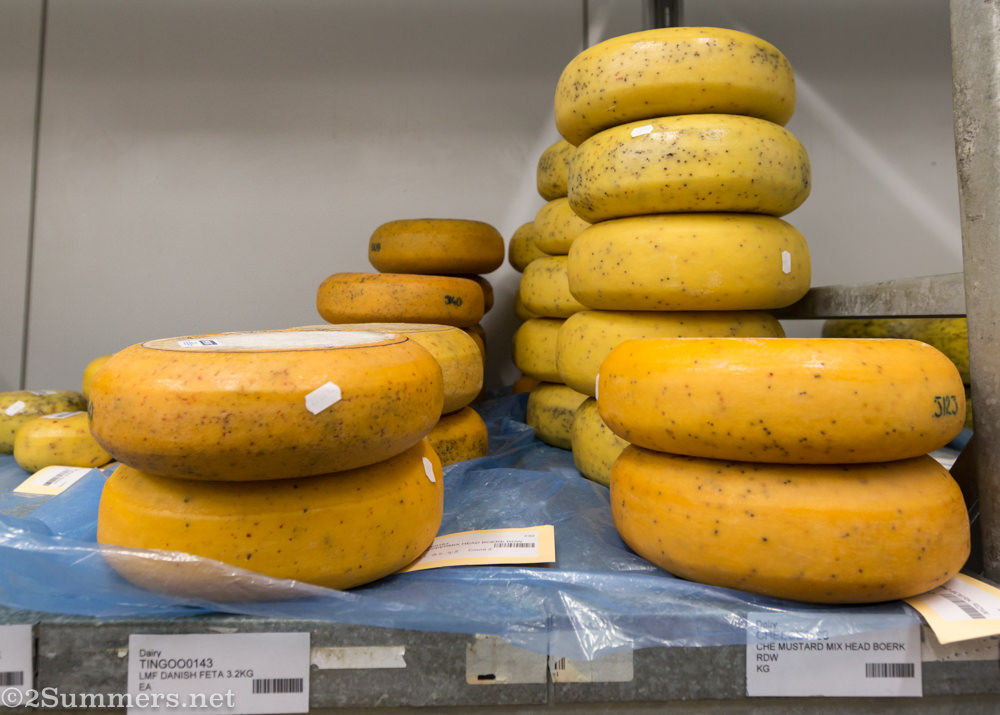 Stacks of cheese at La Marina