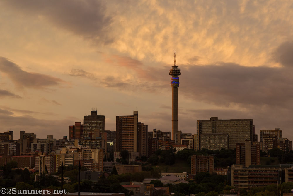 Sunset view of Hillbrow Tower