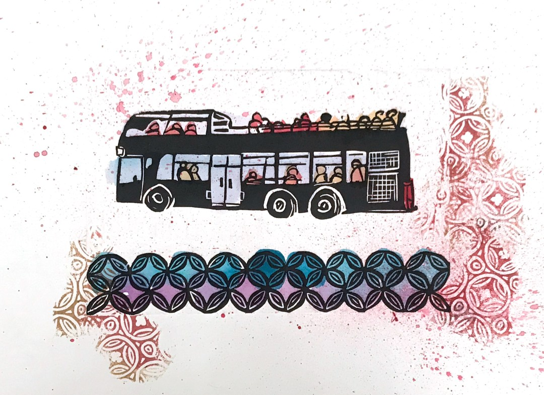 Fiver double decker bus print