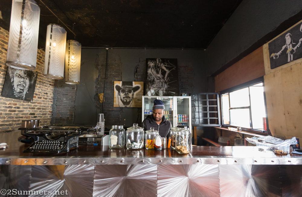 Mandla the barista at Tarantino's