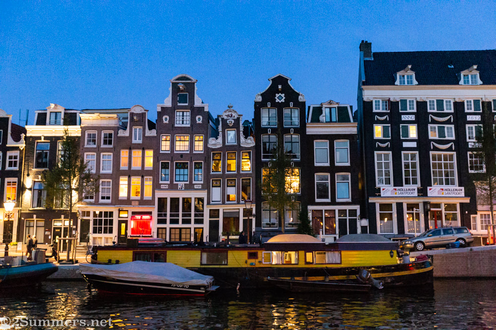 Amsterdam row-houses at night