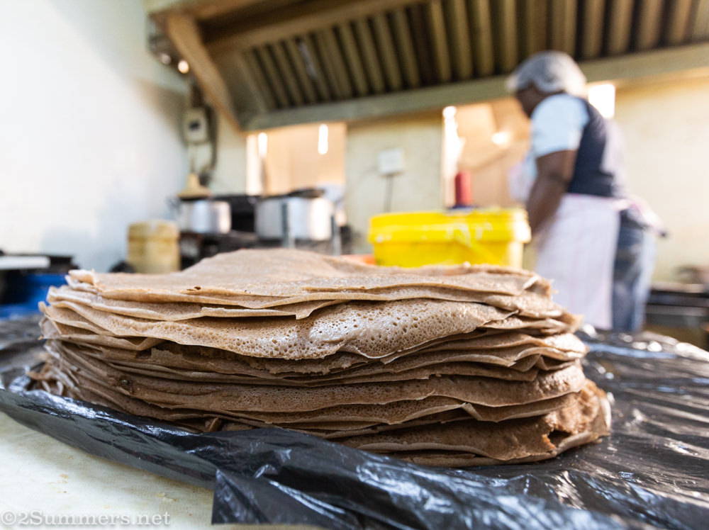 Injera at bakery in Majesty building