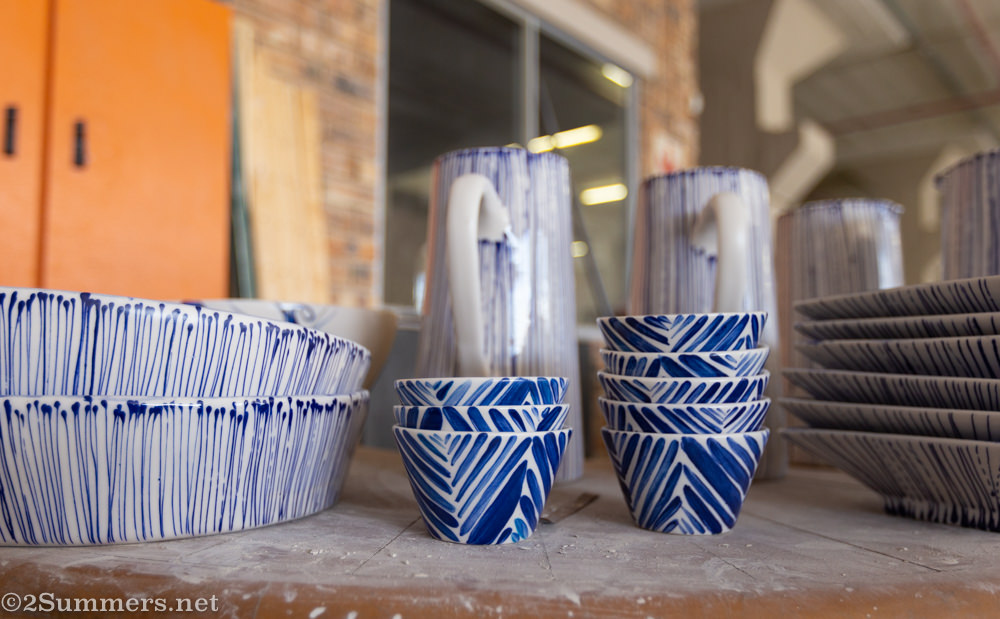 Blue and white dishes from Julia K Ceramics