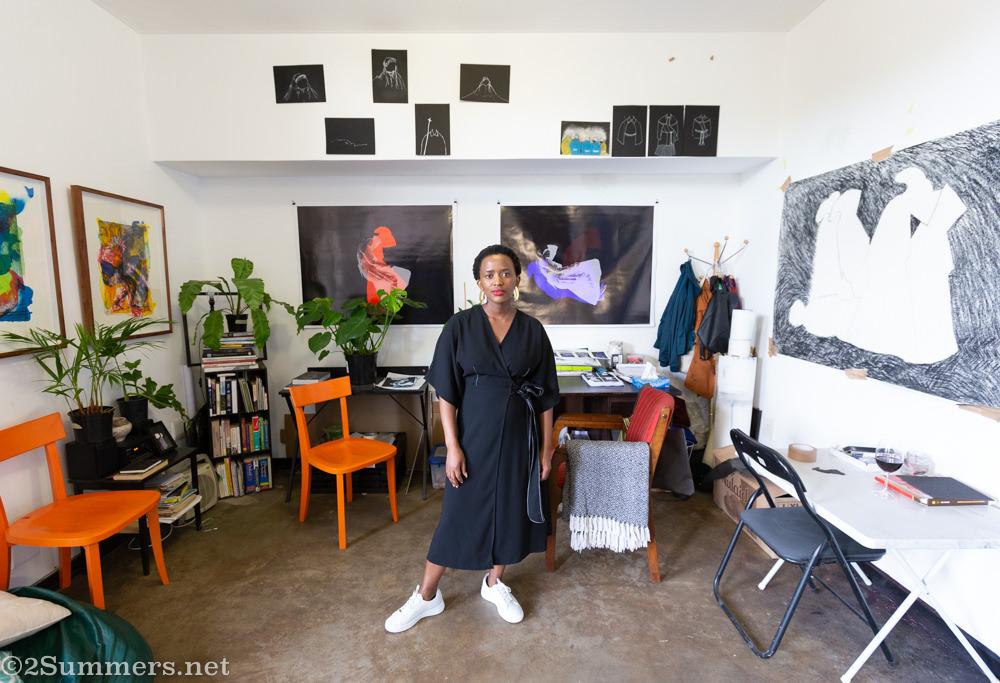 Artist Mbali Dhlamini at Transwerke