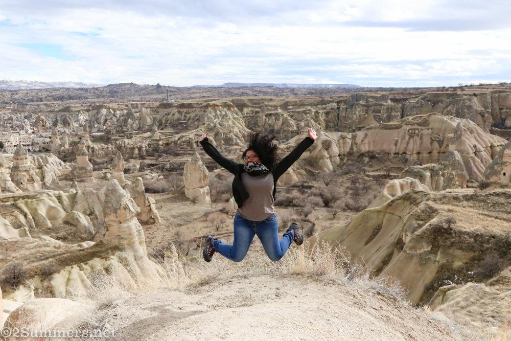 Meruschka jumping in Cappadocia