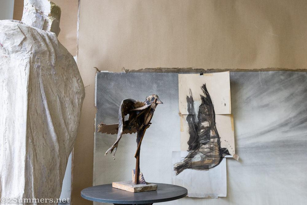 Sculpture in Lousi Olivier's studio