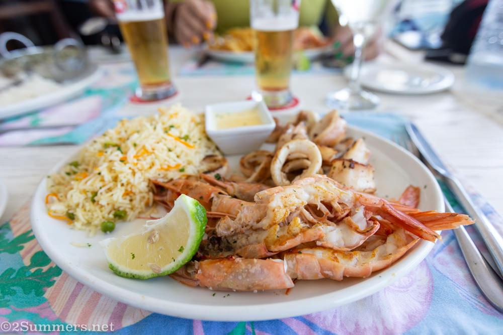 Prawn and calamari lunch at Costa do Sol in Maputo