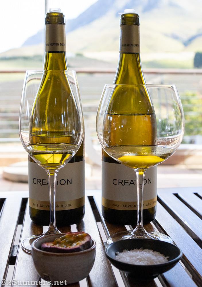 Sensory wine tasting with granadilla and salt at Creation Wines