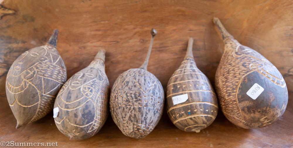 Carved baobab fruits by David Murathi