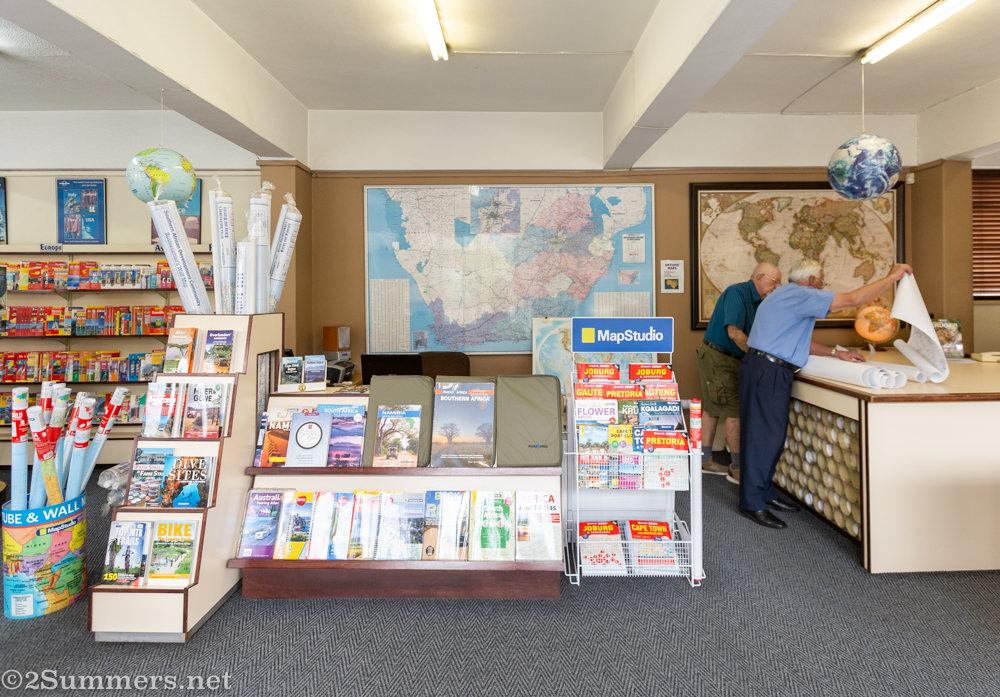 Inside Leon's map shop.